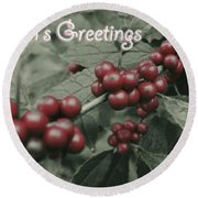 Winterberry Greetings Round Beach Towel by Photographic Arts And Design Studio