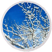 Round Beach Towel featuring the painting Winter's Artistry by Barbara Jewell