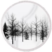 Winter's Bareness II Round Beach Towel