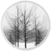 Winter's Bareness  Round Beach Towel