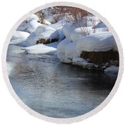 Round Beach Towel featuring the photograph Winter's Blanket by Fiona Kennard