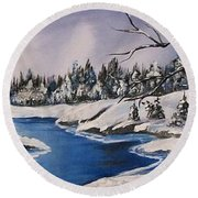 Round Beach Towel featuring the painting Winter's Blanket by Sharon Duguay