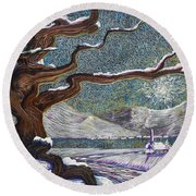 Winter's Day Round Beach Towel