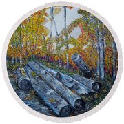Round Beach Towel featuring the painting Winter's Firewood by Marilyn  McNish