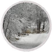 Round Beach Towel featuring the photograph Winter's Kiss by Don Schwartz
