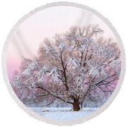 Winter's Majesty Morning Round Beach Towel