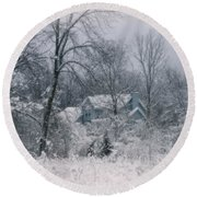 Winters Silence Round Beach Towel