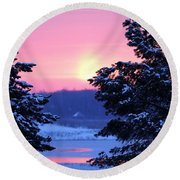 Round Beach Towel featuring the photograph Winter's Sunrise by Elizabeth Winter