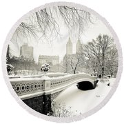 Winter's Touch - Bow Bridge - Central Park - New York City Round Beach Towel