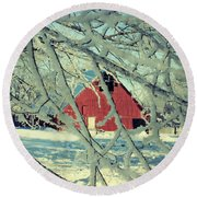 Our Frosty Barn Round Beach Towel