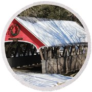 Wintry Flume Covered Bridge Round Beach Towel