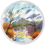 Wintry Reflections Round Beach Towel