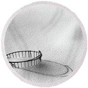 Wire Basket In Snow Round Beach Towel