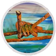 Round Beach Towel featuring the painting Wire by Daniel Janda