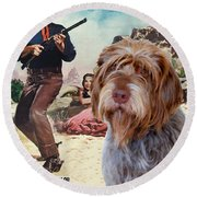 Wirehaired Pointing Griffon - Korthals Griffon Art Canvas Print - The Searchers Movie Poster Round Beach Towel by Sandra Sij