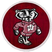 Wisconsin Badgers College Sports Team Retro Vintage Recycled License Plate Art Round Beach Towel by Design Turnpike