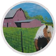 Wisconsin Barn Round Beach Towel