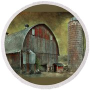 Wisconsin Barn - Series Round Beach Towel by Jeff Burgess