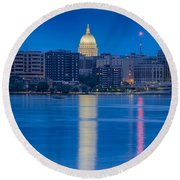 Round Beach Towel featuring the photograph Wisconsin Capitol Reflection by Sebastian Musial