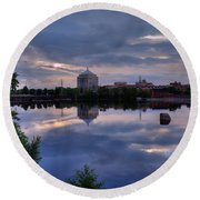 Wisconsin River Reflection Round Beach Towel