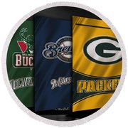 Wisconsin Sports Teams Round Beach Towel