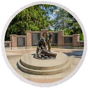 Round Beach Towel featuring the photograph Wisconsin State Firefighters Memorial 1 by Susan  McMenamin