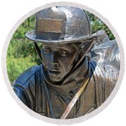 Round Beach Towel featuring the photograph Wisconsin State Firefighters Memorial 3  by Susan  McMenamin