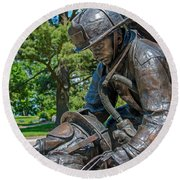 Round Beach Towel featuring the photograph Wisconsin State Firefighters Memorial 4 by Susan  McMenamin