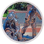 Round Beach Towel featuring the photograph Wisconsin State Firefighters Memorial Park 2 by Susan  McMenamin