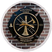 Round Beach Towel featuring the photograph Wisconsin State Firefighters Memorial Park 5 by Susan  McMenamin