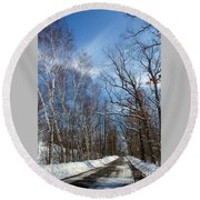 Wisconsin Winter Road Round Beach Towel