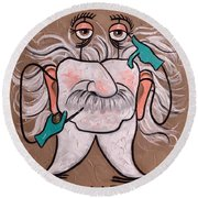 Round Beach Towel featuring the painting Wisdom Tooth 2 by Anthony Falbo