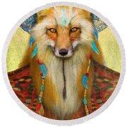 Wise Fox Round Beach Towel