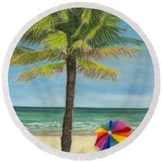 Wish I Was There Round Beach Towel