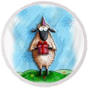 Wishing Ewe  Round Beach Towel
