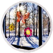 Round Beach Towel featuring the photograph Wishing For Spring 1 by Mark Madere