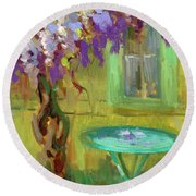 Wisteria At Hotel Baudy Round Beach Towel