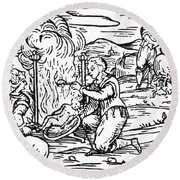 Witches Roasting And Boiling Infants Round Beach Towel