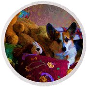 With His Friends On The Bed Round Beach Towel by Mick Anderson