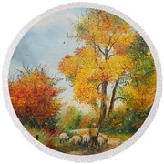 With Sheep On Pasture  Round Beach Towel