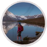 With The Matterhorn In The Background Round Beach Towel