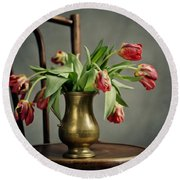 Withered Tulips Round Beach Towel