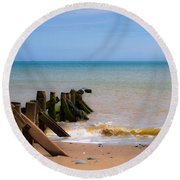 Withernsea Groynes Round Beach Towel