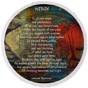 Round Beach Towel featuring the drawing Within by Leanne Seymour