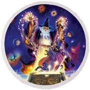 Wizard Dragon Spell Round Beach Towel by Andrew Farley