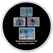 Woldenberg Riverfront Park Sculptures One Round Beach Towel