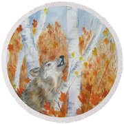 Round Beach Towel featuring the painting Wolf Call by Ellen Levinson