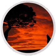 Round Beach Towel featuring the photograph Wolf Calling For Mate Sunset Silhouette Series by David Dehner