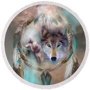 Wolf - Dreams Of Peace Round Beach Towel