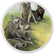 Round Beach Towel featuring the painting Wolf Gathering Lazy by Rob Corsetti